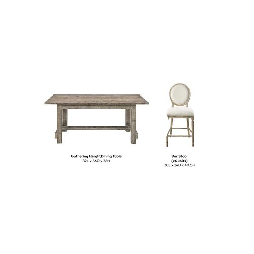 "Emerald Home Interlude Gathering Table W/4 24"" Barstool Sandstone D560-13-05-5pcset-k"