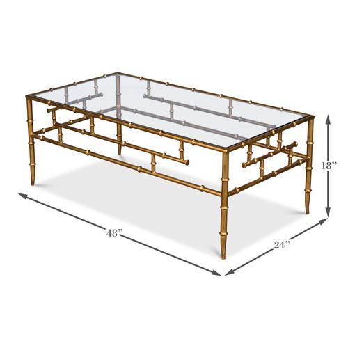 "Faux Bamboo Metal Coffee Table 48"""
