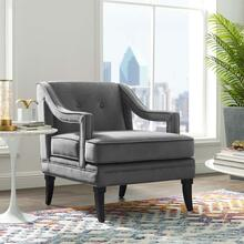 Concur Button Tufted Performance Velvet Armchair in Gray