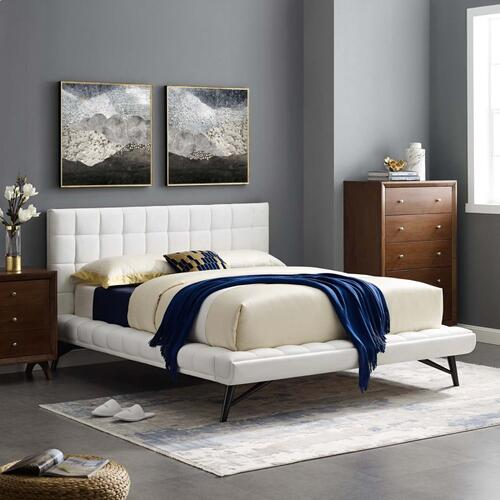 Modway - Julia Queen Biscuit Tufted Performance Velvet Platform Bed in White