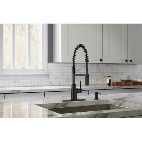 Nori Matte Black One-Handle Pre-Rinse Spring Pulldown Kitchen Faucet