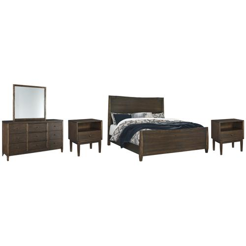 Product Image - Queen Panel Bed With Mirrored Dresser and 2 Nightstands