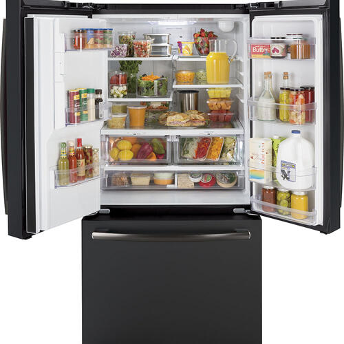 GE Energy Star® 25.6 Cu. Ft. French-Door Refrigerator Black Slate - GFE26JEMDS