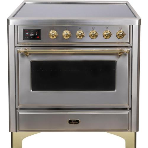Majestic II 36 Inch Electric Freestanding Range in Stainless Steel with Brass Trim