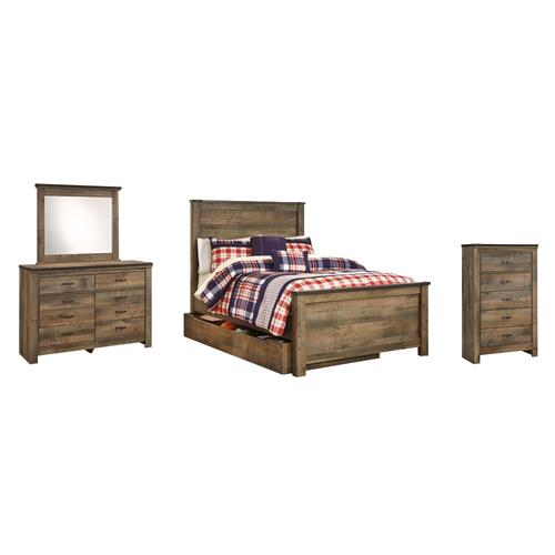 Ashley - Full Panel Bed With 1 Storage Drawer With Mirrored Dresser and Chest