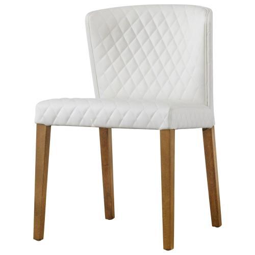 Albie KD Diamond Stitching PU Dining Side Chair, Danburry White