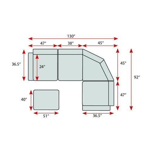 Porter International Designs - Clayton Graphite Sectional, U5350