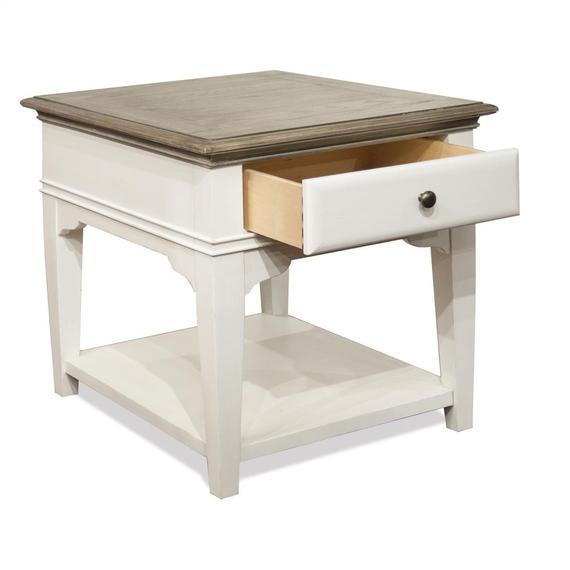 Riverside - Myra - Leg Side Table - Natural/paperwhite Finish