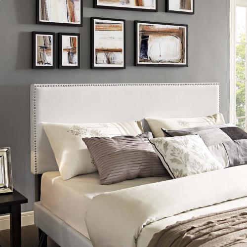 Modway - Macie King Vinyl Platform Bed with Round Splayed Legs in White