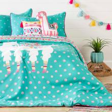 Dreamit - Kids Bedding Set Festive Llama, Turquoise, Full
