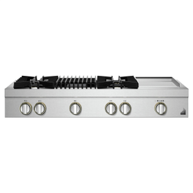 """48"""" RISE™ Gas Professional-Style Rangetop with Chrome-Infused Griddle and Gas Grill"""