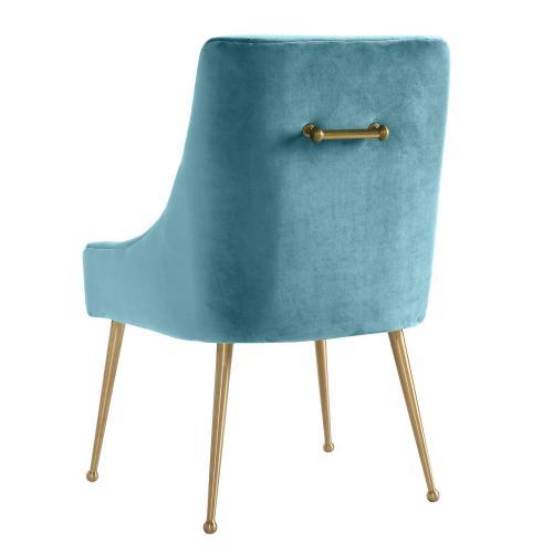 Beatrix Sea Blue Velvet Side Chair