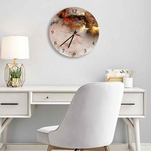 Grako Design - Gold Abstract Clouds Round Square Acrylic Wall Clock