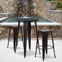 """See Details - Commercial Grade 24"""" Round Black-Antique Gold Metal Indoor-Outdoor Bar Table Set with 2 Square Seat Backless Stools"""
