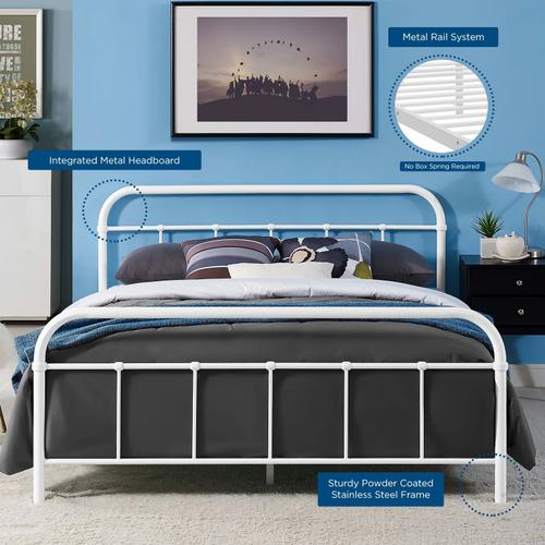 Modway - Maisie Queen Stainless Steel Bed Frame in White