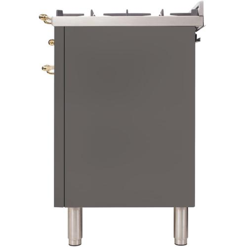 Ilve - Nostalgie 36 Inch Gas Natural Gas Freestanding Range in Stainless Steel with Brass Trim