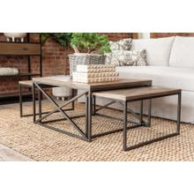 See Details - Parker Coffee Table with 1 Nesting Table, Brown and Black (35x31x19)