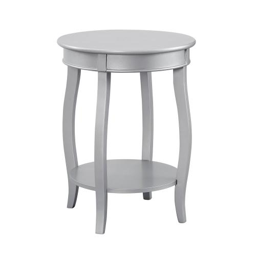 Round Lower Shelf Table, Silver