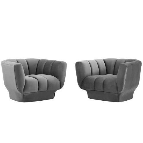 Entertain Vertical Channel Tufted Performance Velvet Armchair Set of 2 in Gray