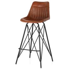 Garren Leather Bar Stool, Ale Brown