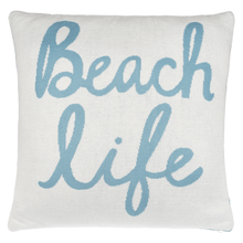 "Turquoise & White ""Beach Life"" Pillow"
