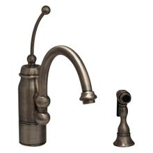 New Horizon single-handle faucet with a curved extended stick handle, curved swivel spout, and a solid brass side spray.