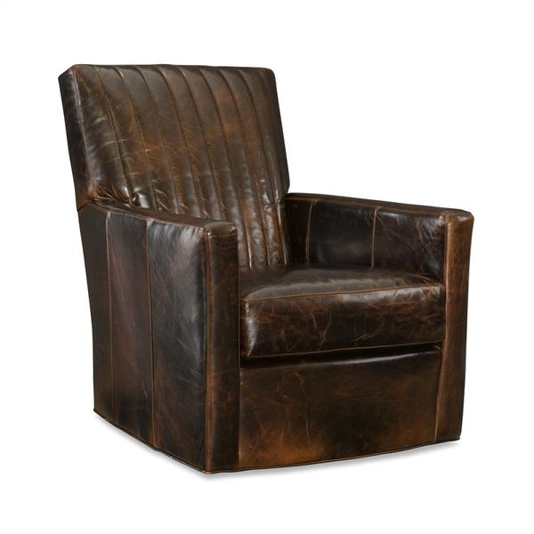 Leather Channel Back Swivel Chair