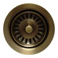 """See Details - 3 1/2"""" Waste Disposer Trim with Matching Basket Strainer for Deep Fireclay Sinks - Antique Brass"""