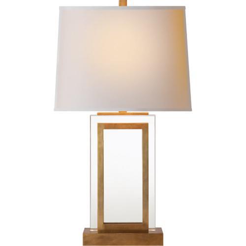 Visual Comfort CHA8983AB-NP E. F. Chapman Crystal Panel 30 inch 150 watt Antique-Burnished Brass Decorative Table Lamp Portable Light