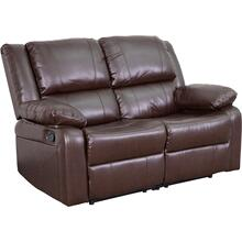 Harmony Series Brown LeatherSoft Loveseat with Two Built-In Recliners