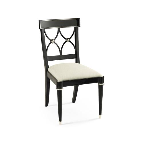 Madison Piano Black & White Brass Dining Side Chair, Upholstered in Castaway