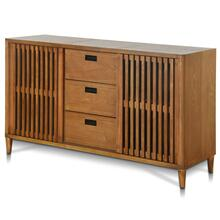 BRANDON BUFFET  64in w. X 36in ht. X 18in d.  Lattice Two Door Three Drawer Buffet made of Straigh