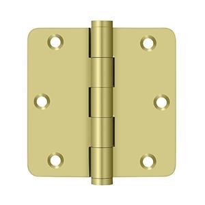 "Deltana - 3-1/2"" x 3-1/2"" x 1/4"" Radius Hinges - Polished Brass"