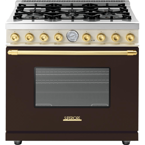 Range DECO 36'' Classic Brown dual color, Gold 6 gas, gas oven