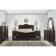 Saillans Cherry Finish Solid Wood Construction Bedroom Set, Queen & King Bed, Dresser and Mirror, 2 Nightstands, Chest, King
