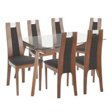 Aspen 7-piece Dining Set - Walnut Wood, Clear Glass, Charcoal Fabric