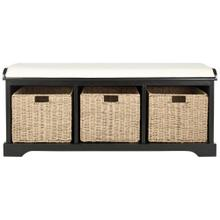 Lonan Wicker Storage Bench - Black / White