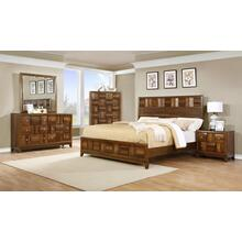 Calais Walnut Finish Solid Wood Construction Bedroom set King & Queen Bed Dresser Mirror Night Stand Chest, King