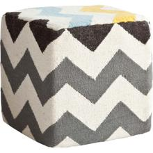 See Details - Alliaria XI Ivory/Charcoal Wool Zig-Zag Pattern Sqaure Pouf