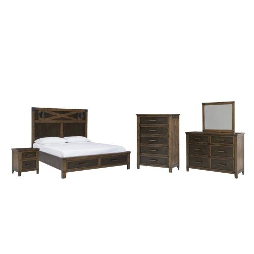 Queen Panel Bed With Storage With Mirrored Dresser, Chest and Nightstand
