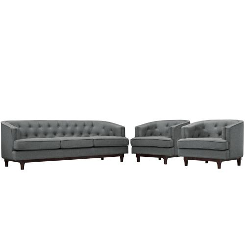 Modway - Coast Living Room Set Set of 3 in Gray