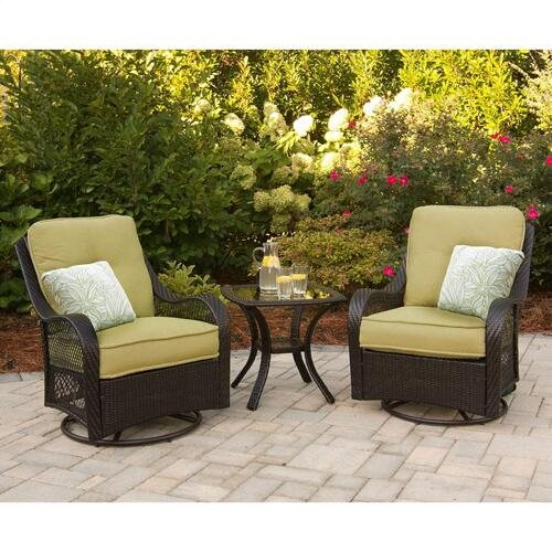 Hanover Orleans 3-Piece Swivel Gliding Chat Set in Avocado Green, ORLEANS3PCSW