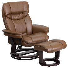 Contemporary Multi-Position Recliner and Curved Ottoman with Swivel Mahogany Wood Base in Palimino LeatherSoft