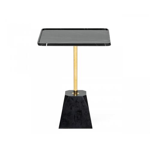 Modrest Uintah - Glam Black Marble and Brass End Table