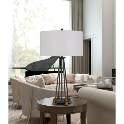 Cal Lighting & Accessories - Bellewood Metal/Wood Table Lamp With Fabric Drum Shade