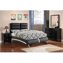 Axel General Bed, Eastern-king, Black-leather