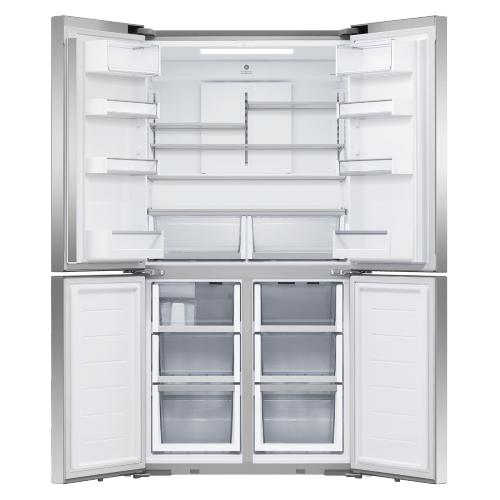 """Fisher & Paykel - Freestanding Quad Door Refrigerator Freezer, 36"""", 18.9 cu ft, Ice & Water"""