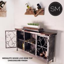 See Details - Wine Rack made solid Mesquite Wood - Buffet Cabinet - 1230 - Live Edge / Chocosilver / Turquoise