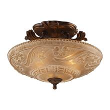 See Details - Restoration 3-Light Semi Flush in Golden Bronze with Amber Glass