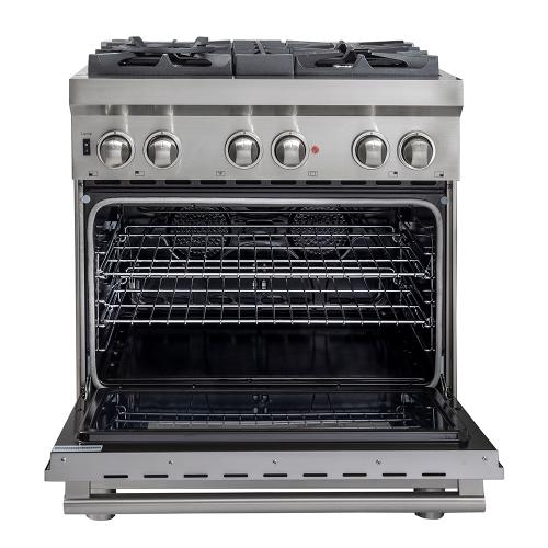 """Forno Canada - 30"""" Gas Range with 240 Volt Electric Oven Dual Fuel Free-Standing Pro-Style Range 304 / 430 Stainless Steel Design FFSGS6188-30"""